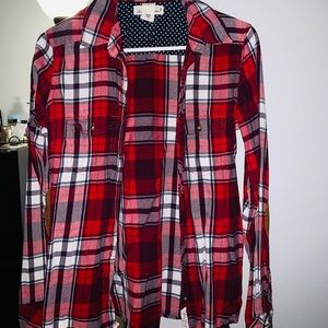 H&M Women's Long Sleeve Flannel Button Up Top